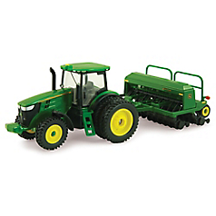1 64 Scale John Deere 7215r With Grain Drill Tomy